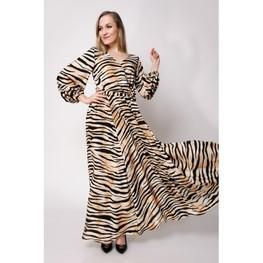 Efektowna, długa sukienka w wzór tygrysa.