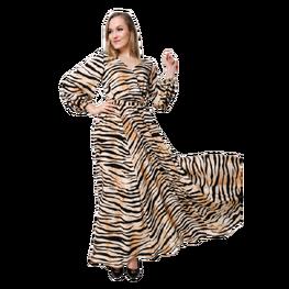 Sukienka maxi, wzór tygrysa. Martex Fashion