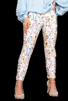 Lola Fashion spodnie cygaretki słoneczne kwiaty paselowe