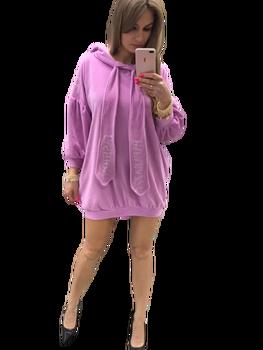 PAPARAZZI FASHION Sukienko Bluza welur fiolet Premium