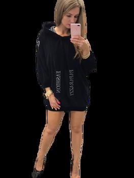 PAPARAZZI FASHION Sukienko Bluza welur czarna Premium