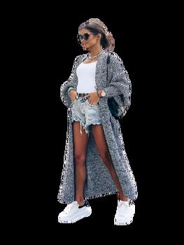 COCOMORE sweter długi czarno biały