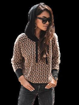 COCOMORE Sweter wzór czarno karmelowy