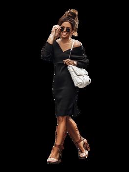 COCOMORE Sukienka przekładana V czarna