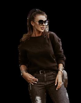 OLA VOGA Bluza czarna z haftowanym logo