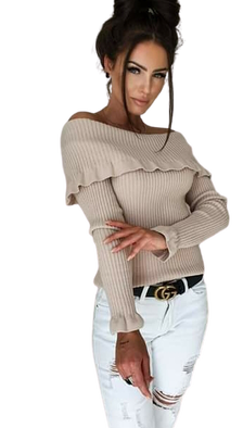 BY ME Sweterek ROZENEK one size beżowy typu carmen