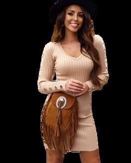 COCOMORE Sukienka HAZEL sweterkowa elegancka beżowa