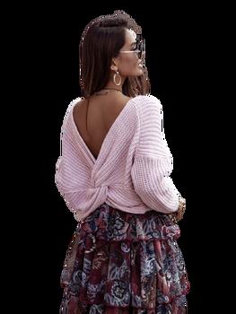 COCOMORE Sweter przekładany tył różowy pudrowy