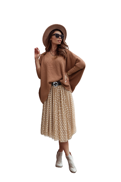 COCOMORE Sweter oversize karmelowy (1)