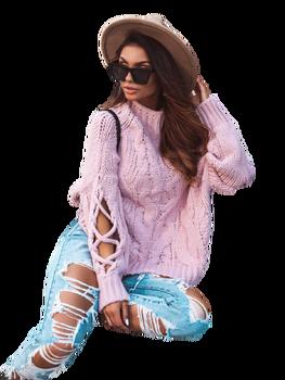 COCOMORE Sweter różowy pudrowy gruby ze stójką