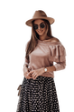 COCOMORE Bluzka Velur falbanka pudrowa różowa (1)