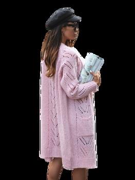 COCOMORE Sweter ażurowy różowy pudrowy