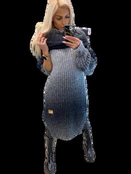 Paparazzi Fashion Sweter Sukienka Premium czarny ombre