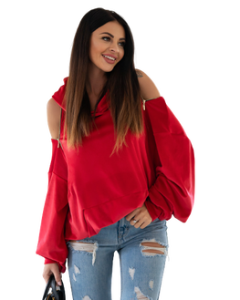 OLA VOGA Bluza czerwona DECOR ZIPPER z kapturem suwak