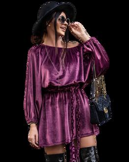 O LA VOGA Sukienka CORD DRESS bordowa
