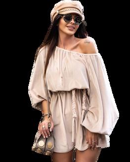 O LA VOGA Sukienka CORD DRESS beżowa