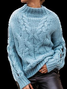 COCOMORE Sweter błękitny gruby ze stójką