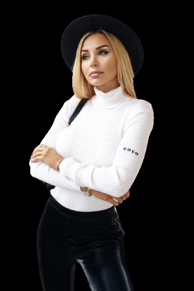 COCOMORE Sweter Golf IDEALNY biały prążek (1)