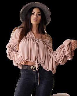 OLA VOGA bluzka koszula JADE pudrowy ciemny róż