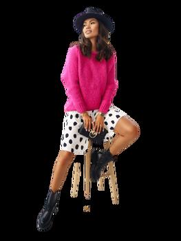 COCOMORE Sweter mocny różowy z rulonem