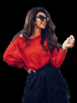 COCOMORE Sweter czerwony z rulonem