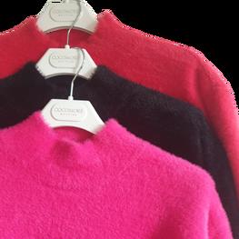 Cocomore Sweter z włosem NEW stójka czarny