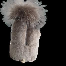 ODYSSEY czapka zimowa brązowa ocieplana pompon jenot naturalny
