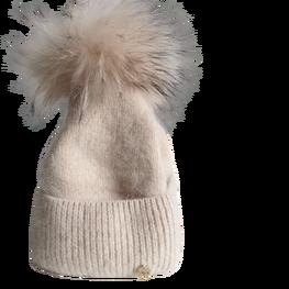 ODYSSEY czapka zimowa beżowa ocieplana pompon jenot naturalny