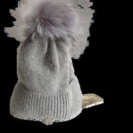 ODYSSEY czapka zimowa ciemna szara ocieplana pompon jenot naturalny