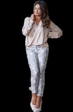 Spodnie cygaretki beż wzór Lola Fashion