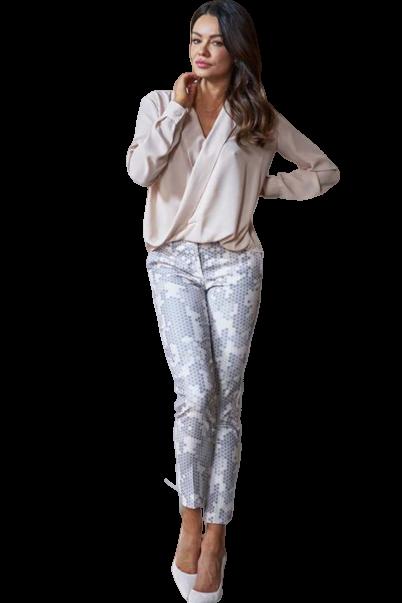 Spodnie cygaretki beż wzór Lola Fashion (1)