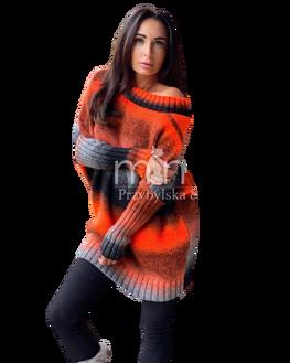 MINOUU SWETER AURORA OMBRE czarno pomarańczowy