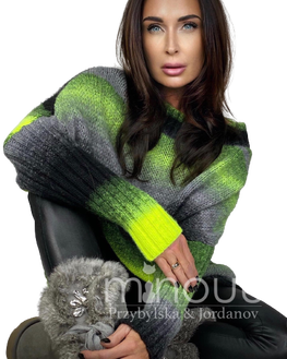MINOUU SWETER AURORA OMBRE czarno zielony