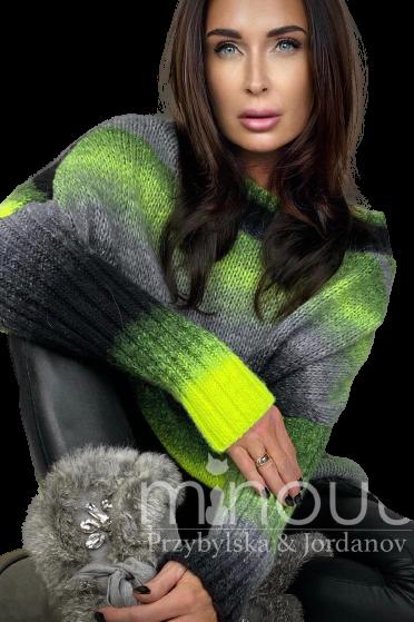 MINOUU SWETER AURORA OMBRE czarno zielony (1)