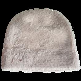 Made in Italy czapka typu alpaka gruba wygodna jasna beżowa cyrkonie