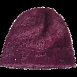 Made in Italy czapka typu alpaka gruba wygodna śliwkowa cyrkonie