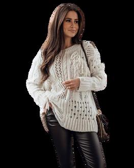 COCOMORE Sweter styl BOHO kremowy