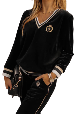 LUISE Bluza MISS LUI welurowa V kolor czarny