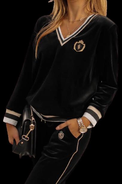 LUISE Bluza MISS LUI welurowa V kolor czarny (1)