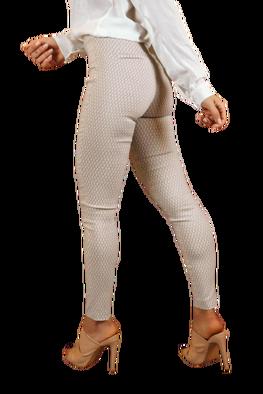 LOLA FASHION Spodnie cygaretki beżowe biały print