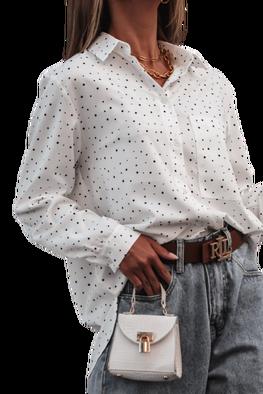 Simplicity Bluzka elegancka biała koszula kropki