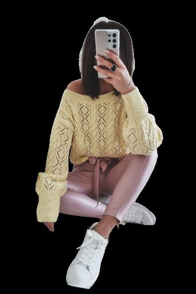 BY ME Sweterek Ażurowa elegancja zółty słoneczny (1)