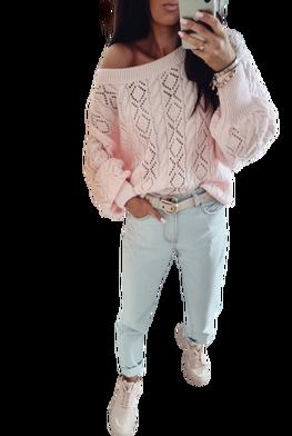 BY ME Sweterek Ażurowa elegancja jasny różowy