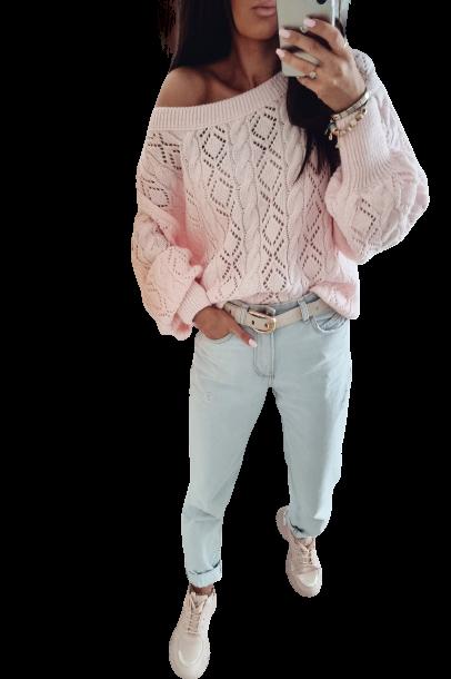 BY ME Sweterek Ażurowa elegancja jasny różowy (1)