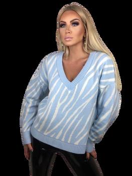BOCCA Sweterek ZEBRA błękit biały BLUE BABY