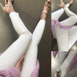 LOLA FASHION Spodnie cygaretki kremowo beżowe wzór