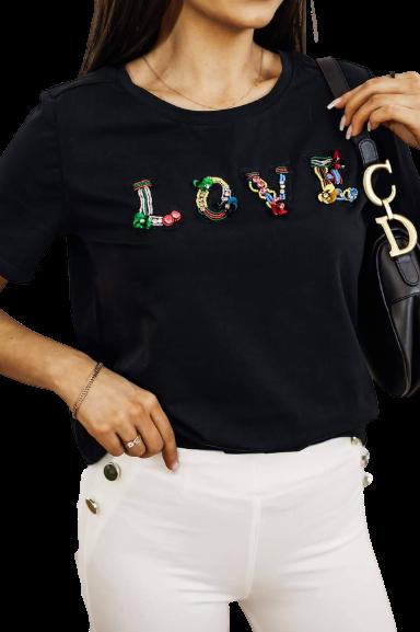 COCOMORE Bluzka czarna t-shirt LOVE  (1)