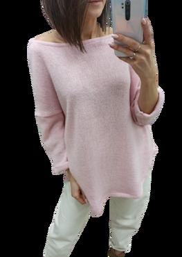 Simplicity Bluza sweterkowa OVER RÓŻOWA