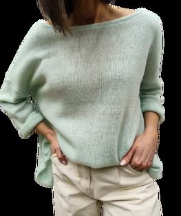 Simplicity Bluza sweterkowa OVER MIĘTOWA