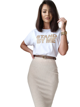 BY ME Bluzka biała t-shirt LOGO HAFT